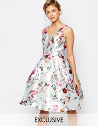 Chi Chi London Plunge Skater Dress In Floral Print Mint Floral Multi
