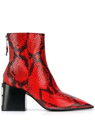 Alexander Wang Snakeskin Pattern Ankle Boots Red