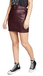 Kendall Kylie Charlie Vegan Leather Skirt Red Currant