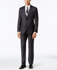 Dkny Men's Slim Fit Charcoal And Brown Plaid Suit Charcoal Brown