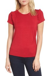 Chelsea 28 Chelsea28 Ruffle Cap Sleeve Tee Red Lipstick