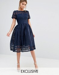 Chi Chi London Premium Lace Dress With Cutwork Detail And Cap Sleeve Navy
