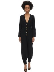 Gucci Long Wool Cady And Silk Crepe Jumpsuit Black