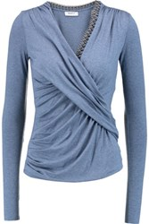 Bailey 44 Draped Chain Trimmed Stretch Jersey Top Blue
