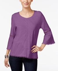 Style And Co Crochet Trim Bell Sleeve Top Only At Macy's Orchid Oasis