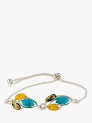Be Jewelled Amber And Turquoise Slider Chain Bracelet Silver Multi
