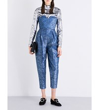 Delpozo Strapless Metallic Tweed Jumpsuit Blue