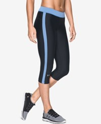 Under Armour Heatgear Sport Capri Leggings Black Water Blue