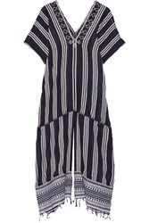 Lemlem Edna Embroidered Striped Cotton Blend Gauze Kaftan Navy