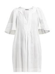 Three Graces London Prudence Cotton Cheesecloth Dress White