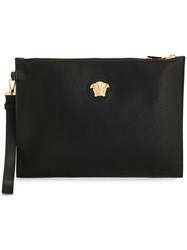 Versace Medusa Plaque Leather Clutch Black