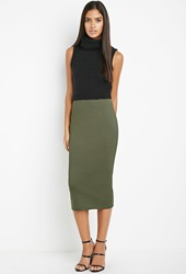 Forever 21 Ribbed Pencil Skirt Olive