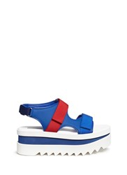 Stella Mccartney Colourblock Velcro Strap Platform Sandals Blue