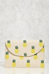 Forever 21 Pineapple Straw Clutch Cream Multi