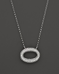 Kc Designs Pave Diamond Oval Pendant In 14K White Gold .25 Ct. T.W. White Gold White Diamonds