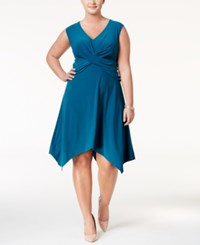 Love Squared Trendy Plus Size Handkerchief Hem Dress Teal