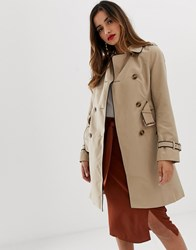 Lipsy Mac Coat In Stone With Contrast Piping