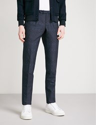 Slowear Floral Jacquard Slim Fit Tapered Cotton Trousers Navy