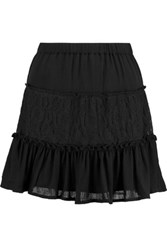 W118 By Walter Baker Fin Crinkled Gauze And Lace Mini Skirt Black