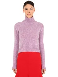 Victoria Beckham Cropped Wool Knit Sweater Lilac
