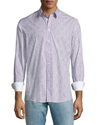 Duchamp Micro Floral Sport Shirt Purple