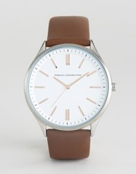 French Connection Brown Leather Strap Watch White Dial Brown