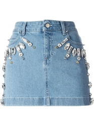 Emanuel Ungaro Embellished Mini Skirt Blue