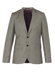 Paul Smith Price Of Wales Checked Wool Blazer Grey Multi