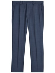 Jaeger Sharkskin Wool Regular Fit Suit Trousers Chambray