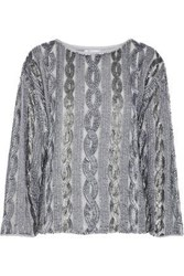Antik Batik Embellished Crepe De Chine Top Gray