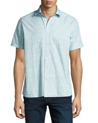 Neiman Marcus Marble Print Short Sleeve Shirt Turquoise