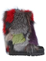 Casadei 120Mm Patchwork Fox And Suede Wedge Boots