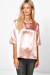 Boohoo Boutique Oversized Side Spilt Satin T Shirt Nude