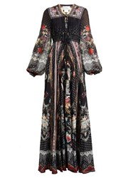 Camilla Floral Print Silk Chiffon Maxi Dress Black Print