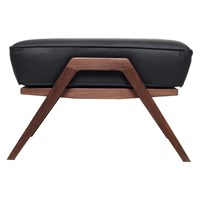 Katakana Ottoman Walnut And Black Leather