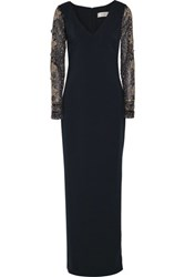 Badgley Mischka Embellished Tulle Paneled Cady Gown Midnight Blue