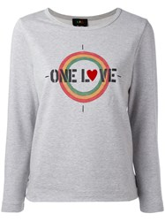 A.P.C. One Love Printed T Shirt Women Cotton L Grey
