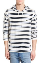 Men's Lacoste Stripe Hooded Long Sleeve T Shirt Cliff Navy Blue