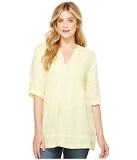Dylan By True Grit Pintuck Washed Linen Tunic Soft Yellow Women's Dress