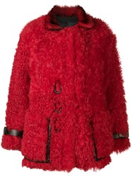 Tom Ford Oversized Shearling Coat Red