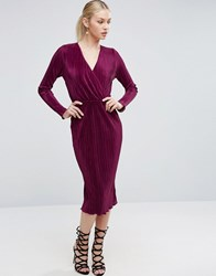 Asos Pencil Pliss Dress With Wrap Detail Purple