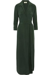L'agence Cameron Washed Silk Shirt Dress Dark Green