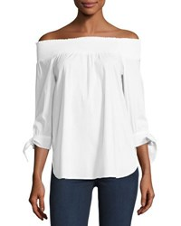 Neiman Marcus Off The Shoulder Poplin Shirt White