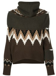 Sacai Oversized Turtle Neck Jumper Brown