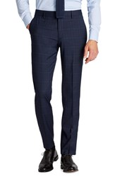 Bonobos Men's Big And Tall Jetsetter Flat Front Stretch Plaid Wool Blend Trousers Navy Plaid