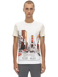 Lanvin Printed Cotton T Shirt W Knit Sleeves Beige