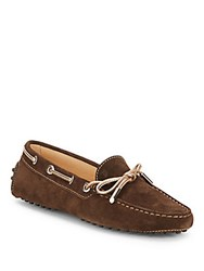 Tod's Leather Slip On Driving Loafers Brown