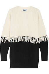 Steve J And Yoni P Fringed Cable Knit Wool Blend Sweater Ivory