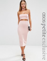 Asos Petite Midi Pencil Skirt In Jersey Co Ord Nude Pink