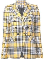 Veronica Beard Checked Double Breasted Blazer Yellow